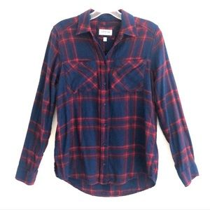 Express Blue and Red Plaid Boyfriend Flannel Shirt